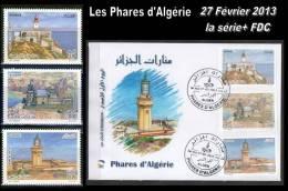 Algeria/Algérie/Algerien 2013 LIGHTHOUSE / Les Phares  PREMIER JOUR / FDC  + La Série Complét - Fari