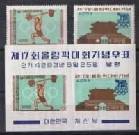 J.O. 64 - COREE DU SUD 2 Val. D + BF NON-DENTELE Neufs** Jeux Olympiques De Rome 1960 - Ete 1960: Rome
