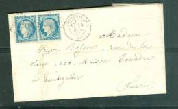 Yvert N° 37 PAIRE  Sur LsC DE    Napoléonville (Pothivy    Oblitération GC 2609 Pour Morlaix En  JUILLET  1871 - LL15405 - 1849-1876: Période Classique