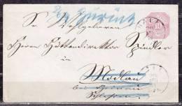 Wuerttemberg U 30, Hall Nach Modlau, AK-Stempel, Annahme Verweigert Und Zurueck 1879 (12645) - Interi Postali