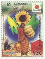 BANGLADESH 1998 MNH  INTERNATIONAL FUND FOR AGRICULTURAL DEVELOPMENT, FARM, FARMER, SUNFLOWER, CORN - Bangladesh
