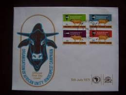 KUT 1971 OAU RINDERPEST CAMPAIGN  Full Set On FDC. - Kenya, Uganda & Tanganyika