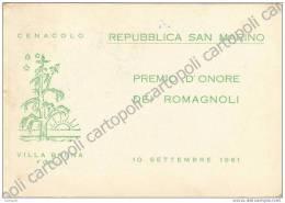 ^ SAN MARINO PREMIO D´ONORE DEI ROMAGNOLI VILLA BRUNA FORLI CENACOLO 95 - Saint-Marin