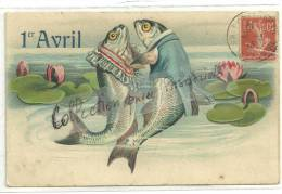CPA Gaufrée 2 Poissons Humanisés Couple De Mariés 1905 - Erster April
