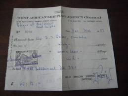 RECU DOCUMENT TIMBRE NIGERIA 1958 WEST AFRICAN SHIPPING AGENCY LAGOS ORIGINAL 60 POUNDS - Nigeria (1961-...)