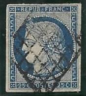 25 Cts Bleu Foncé Répub Franc N°4a Oblitéré - 1849-1850 Cérès