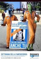 POSTCARD PROMOCARD SETTIMANA DELLA FANTASCIENZA DISCOVERY CHANNEL  TEMATICA THEMATIC UFO ALIEN - Pubblicitari