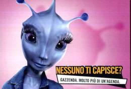PROMOCARD GAZZENDA  NESSUNO TI CAPISCE ? TEMATICA THEMATIC UFO ALIEN - Pubblicitari