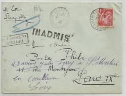 1940 - ENVELOPPE De FLEURY LA VALLEE (YONNE) INADMISE REEXPEDIEE - SEUL SUR LETTRE IRIS - France