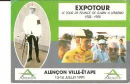 EXPOTOUR LE TOUR DE FRANCE DE GARIN A LEMOND 1903 1990 ALENCON VILLE ETAPE - Cyclisme