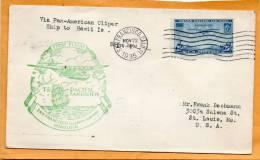 Via Pan American Clipper To Hawaii 1935 Cover - 1c. 1918-1940 Briefe U. Dokumente