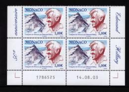 MONACO 2003 Un Bloc De 4 N° YT 2414** Conquete De L'Everest Par Edmund Hillary 1.00€ CDF Date Numéro - Monaco