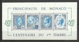 MONACO- HOJATAS BLOQUE CENTENAIRE DU 1er TIMBRE  1975 - Blocks & Kleinbögen