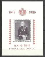 MONACO- HOJATAS BLOQUE  RAINERO III PRINCE DE MONACO 1949-1989 Nº 45 - Blocks & Kleinbögen