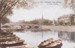 Town Bridge & Swan Hotel Bedford Bedfordshire Postcard (BED6543) - Bedford