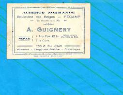 76 Fécamp : Auberge Normande - Boulevard Des Belges- Publicité Dimension 12x 8cm (pli Coin Gauche ) - Vieux Papiers