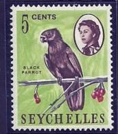 Seychelles 1962 Birds Aves Oiseaux Vegels -  Parrots - Black Parrot    Coracopsis Nigra MH - Parrots