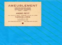 61 FLERS De L´ORNE : Publicité Ameublement André Petit 6Bis, Rue De La Boule Transféré 34 Rue De La Gare - Cartes De Visite