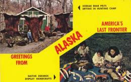 Scenic Greetings, Native Eskimos Display Handcrafts & Kodiak Bear Pelts Drying In Hunting Camp,  Alaska,   40-60s - Native Americans
