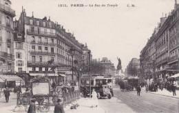 CPA 75 PARIS, Rue Du TEMPLE.. (animée) - Cafés, Hôtels, Restaurants