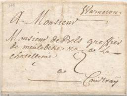 592/20 - Lettre Précurseur 1757 WARNETON Vers CCOURTRAY - Manuscrit WWarneton - Port 2 à L´encre - 1714-1794 (Austrian Netherlands)