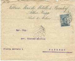 ARTHUR KRUPP, FABBRICA MERCI DI METALLO, BUSTA COMMERCIALE VIAGGIATA  1912 MILANO - SANREMO - Argenteria