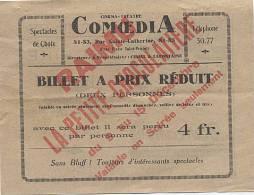 X111482 TICKET D' ENTREE CINEMA THEATRE COMOEDIA RUE ST CATHERINE BORDEAUX RAIMU LA PETITE CHOCOLATERIE BILLET 2 PERSONN - Tickets D'entrée