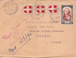 9381# SAVOIE DANTON / LETTRE PAR AVION Obl BACCARAT MEURTHE MOSELLE 1950 DAKAR SENEGAL - Marcophilie (Lettres)