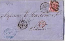 GRANDE-BRETAGNE -FRANCE1873:lettre De LONDRES Vers NICE.+ Texte.Bon état. - Postmark Collection