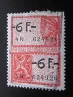 """Timbre Fiscal Oblitéré Six Francs Belgique Fiscale Taxe Belgie Gomme Verso* —> """"timbre Fiscaux"""" - Fiscales"""