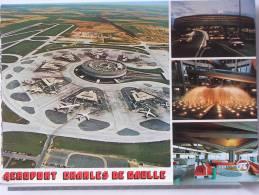 (95) - AEROPORT CHARLES DE GAULLE - VUE AERIENNE - L'AEROGARE DE NUIT - TUBES DE TRANSFERT - VUE INT. D'UN SATELLITE - Luchthaven