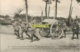 Cpa 56 Guer-Coetquidan, Prisonniers Allemands Conduisant Un Tonneau D'eau, écrite 1916 - Guer Coetquidan
