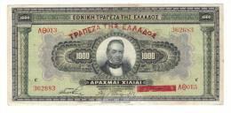 BILLET DE BANQUE DE GRÈCE  /  1000  Drachmes Type MYCÈNES , Surcharge En ROUGE  ( Athènes, Le 4 NOVEMBRE 1926 ) - Grèce
