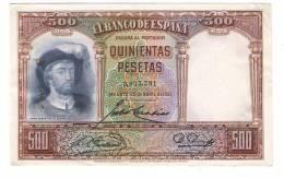 BILLET DE BANQUE D' ESPAGNE  ( BANCO DE ESPANA ) /  QUINIENTAS PESETAS , 500 Pesetas Type DE ELCANO ( 25 Avril 1931 ) - [ 1] …-1931 : Prime Banconote (Banco De España)