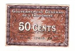BILLET DE BANQUE Du GOUVERNEMENT GENERAL DE L´ INDOCHINE  /  50 CENTS - Indochina