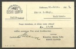 Estland Estonia Estonie Postal Card Insurance Company Estonian LLOYD Year 1933 - Bank & Insurance