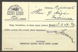 Estland Estonia Estonie Postal Card Insurance Document Company Estonian LLOYD Year 1925 - Bank & Insurance
