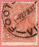 "AUS SC #75  1929 King George  V  (""FOOT... VI[C] / 29 DE 30"") W/some Nibbed Perfs @ B, CV $14.00 - 1913-36 George V: Heads"