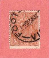 "AUS SC #75  1929 King George  V  (""FOOT... VI[C] / 29 DE 30"") W/some Nibbed Perfs @ B, CV $14.00 - Used Stamps"