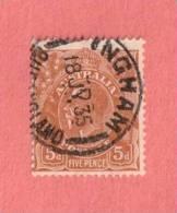 """AUS SC #75  1929 King George  V  W/SON (""""INGHAM QUEENSLAND / 18 JL 35""""), CV $14.00 - Used Stamps"""