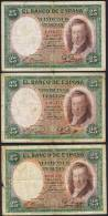 25 Pesetas EDIFIL N° C9  VICENTE LOPEZ  3 Exemplaires - [ 2] 1931-1936 : Republiek