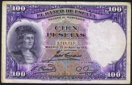 100 Pesetas  EDIFIL N° C11  GONZALO FERNANDEZ DE CORDOBA - [ 2] 1931-1936 : Repubblica