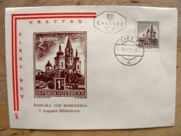 FDC Ersttag Cover From Austria Osterreich, Basilika Von Mariazell Church 1959 - FDC