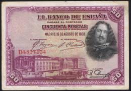 50 PESETAS  EDIFIL N° C5  DIEGO VELAZQUEZ - [ 1] …-1931 : First Banknotes (Banco De España)