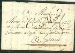 Marque Linéaire 71 Le Mans En 1825 Sur LAC Pour Paris - Ax5806 - 1801-1848: Précurseurs XIX