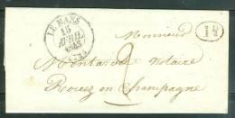 CAD Le Mans En 1843 Pr Rouez Cachet 1 Decime Rural + 2 Décimes Manuscrit , Cad Sillé Le Guillaume Au Dos / Lac -ax5813 - 1801-1848: Precursors XIX