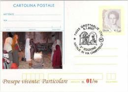 Italy 2007 Cancel Grottaglie Christmas Crib Natale Presepe Su Cartolina Postale Répiqué - Noël