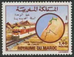 Maroc Morocco Marokko 1982 Mi 1007 YT 932 ** Class XDd Diesel Locomotive (1956) + Route Map / Zug + Karte Streckennetzes - Treinen