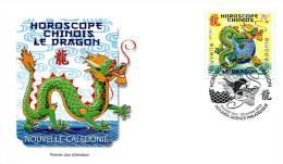 Nouvelle Calédonie   FDC   Premier Jour 23 Janvier 2012    Horoscope Chinois Le Dragon - Nueva Caledonia