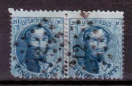 N°15, 20c Bleu Paire Reconstituée Haut De Feuille Lpts 12 Anvers Avec Maculatures Sur La Bouche Et Le Front. RR - 1863-1864 Médaillons (13/16)